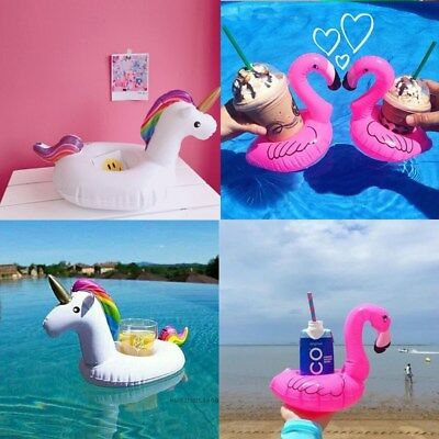 Cute Flamingo Drink Cup Holder Swim Water Inflatable Floats Pool Party Supply
