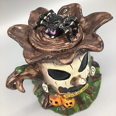 "Blue Sky Clayworks Halloween Cookie Jar Webster Trick or Tree Spider 10"" *AS-IS*"