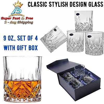 Set Of 4 Double Old Fashioned Crystal Glass 9oz For Serving Scotch Whiskey Drink