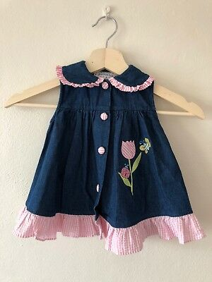 Vintage Chambray Dress With Embroidery - Size 12-18M