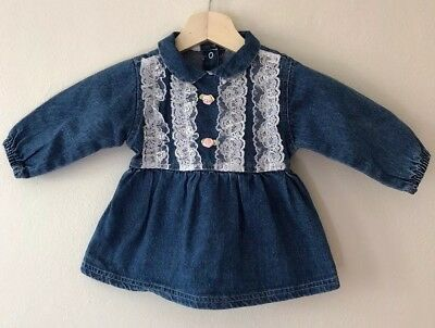Vintage Denim Dress With Lace And Rosette Details - Size 12M