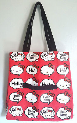 Hello Kitty Greeting Word Thought Bubbles Glitter Bow Red Canvas Tote Bag NEW