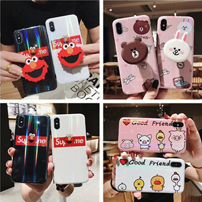 Cute Cartoon Airbag Stand Holder Laser Case Cover For iPhone XS Max XR 7 8 Plus