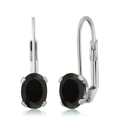 1.36 Ct Oval Black Onyx Silver Plated 4-prong Leverback Earrings 7x5mm