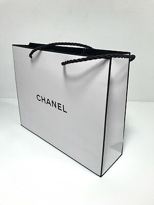 "CHANEL Small White Paper Gift Shopping Bag 8"" x 10"" x 3"""