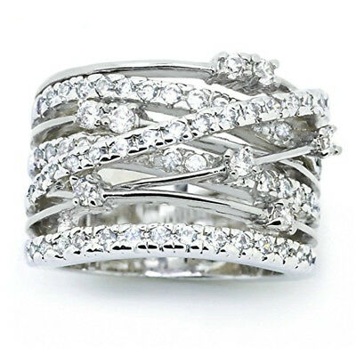 Fashion Women 925 Silver Jewelry Wedding Rings White Sapphire Ring Size 6-10 New