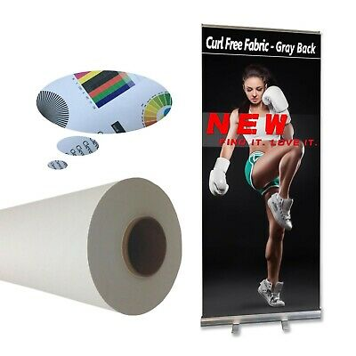 """Curl Free White Back Fabric Banner For Retractable Banner Stand 44"""" x 40'"""