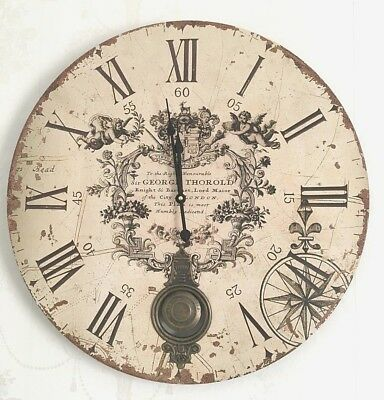 Extra Large Pendulum Wall Clock Shabby Chic Cream Antique French Vintage Style