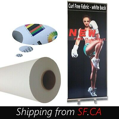 """Curl Free White Back Fabric Banner For Retractable Banner Stand 60"""" x 40'"""