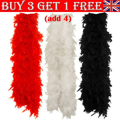 2M Black Pink Feather Boa Hen Night Parties Deluxe Showgirl Fancy Dress 15 Color