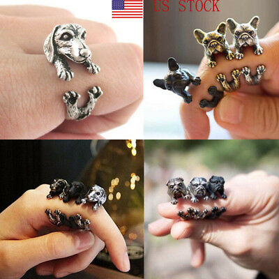 Retro Dog Pet Antique Vintage Animal Ring Gift Puppy Wrap Ring Adjustable KM