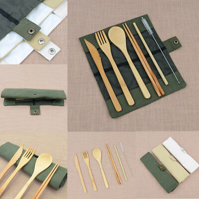 Eco-friendly Bamboo Travel Cutlery Sets for Camping Picnic Office School Lunch