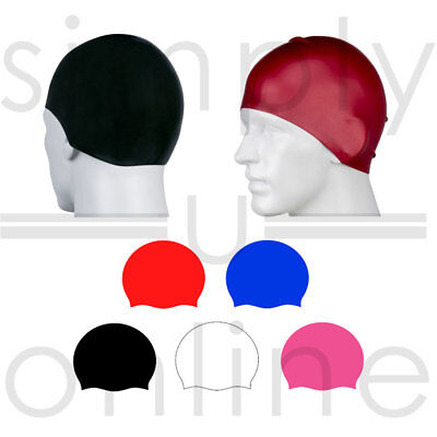 Silicone Easy Fit Adult Swimming Hat Cap Swim Mens Womens Unisex Waterproof