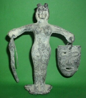 Ancient Celtic Roman Unknown Lead Goddess Figurine Found Near Danube River