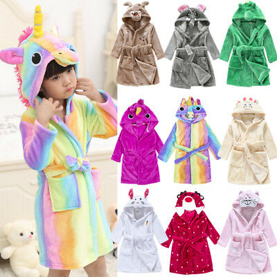 Kids Baby Flannel Hooded Bath Robe Cartoon Bathing Towel Sleepwear Pajamas USA