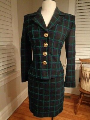 ST. JOHN Collection by Marie Gray green & black wool knit skirt suit women's 2
