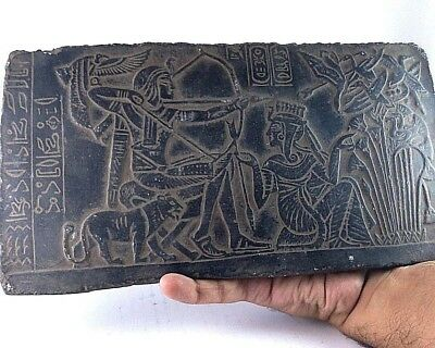 RARE ANCIENT EGYPTIAN ANTIQUE RAMSES II with Queen Hunting Stela 1279-1213 BC