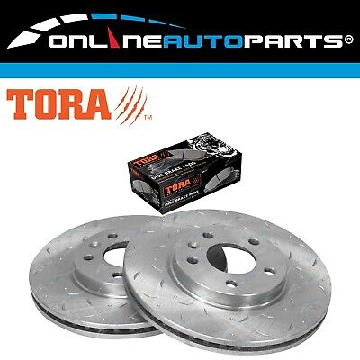 Front Slotted Dimple Drilled Disc Brake Rotors + Pads Cruze JG JH 09~17 (300mm)