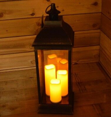 70cm Tall Floor Standing or Hanging Lantern with 3 LED Candles in Antique Black