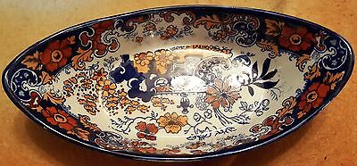 Ridgways Chinese Japan Blue Boat Shape Dish Nice Condition