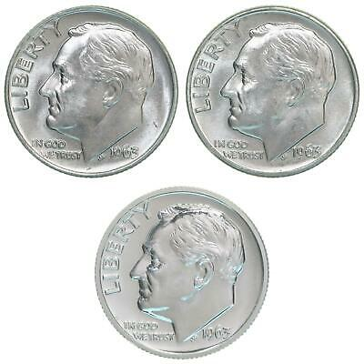 1963 P D Roosevelt Dime Year Set Silver Proof & BU US 3 Coin Lot