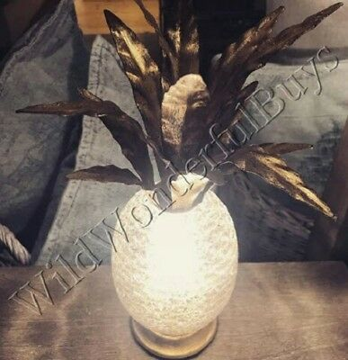 Pottery Barn Liza Pineapple Ambient Table Lamp Antique Brass Light Accent NIB