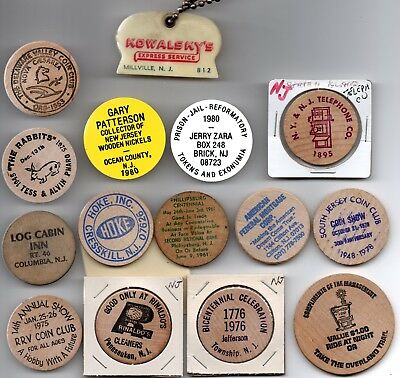 15 souvenir Wooden Nickels - all New Jersey plus a couple odd pieces NJ
