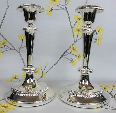 Superb vintage pair of silver plated CANDLESTICKS / CANDLE HOLDERS. 19.5cm 7.75""