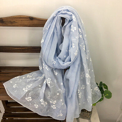 Women's Cotton linen Long Scarf For Gift Ladies Shawls Embroidered Flower 8C