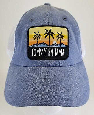 New Tags Tommy Bahama Men s Mesh Back Cap Trucker Hat Blue Palm Sunset Logo  NWT 4270d234f836