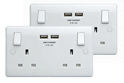 BG Double Wall Sockets Switched 13A 240V with 2 x 3.1A USB ports