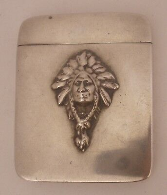 Very Rare Native American Indian Chief Sterling Match Safe Vesta C. 1900