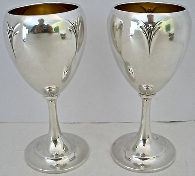 Pair Of American Art Deco Sterling Water Goblets Elsinore Pattern 1930 No Mono