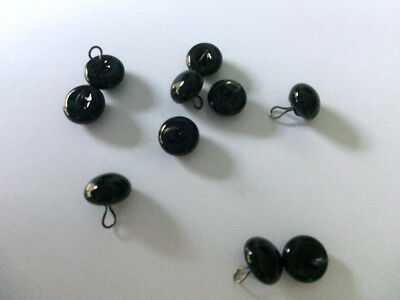 Collectors  BLACK 8mm Shiny Teddy Bear Eyes with Loops x 5 pairs