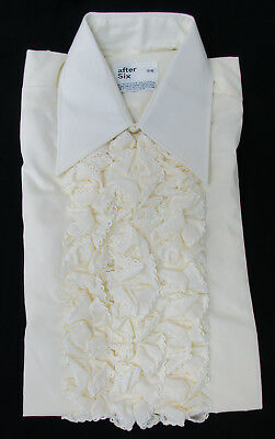 New Men's Vintage Pale Yellow Ruffle Front Tuxedo Shirt 1970's Disco Costume