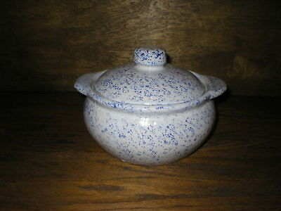 "Vintage Monmouth Bean Pot Crock Blue Speckled 6"" Tall x 7 1/2"" Top Diameter"