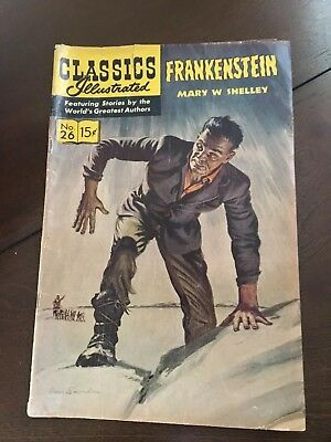 Vintage Classics Illustrated Frankenstein Comic Book, # 26 1971, Very Good Cond.