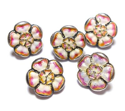 Collection Of Beautiful Antique Victorian Silver & Enamel Flower Buttons (A14)