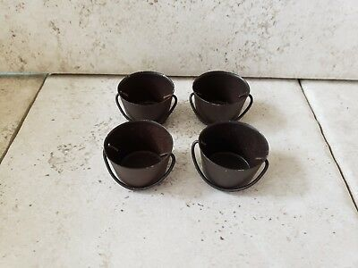 Vintage Lot Of 4 Brown Metal Pot Cauldron Dollhouse Halloween Fairy Garden NOS