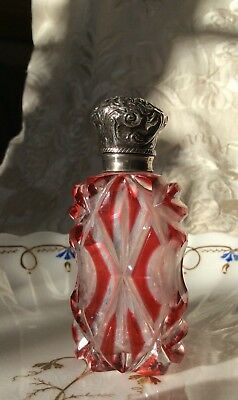 Antique Victorian Red Glass Silver Scent Bottle Crystal Red Overlay