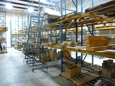 "Used Teardrop Pallet Rack Racking 16' X 42"" Uprights with 96"" beams"