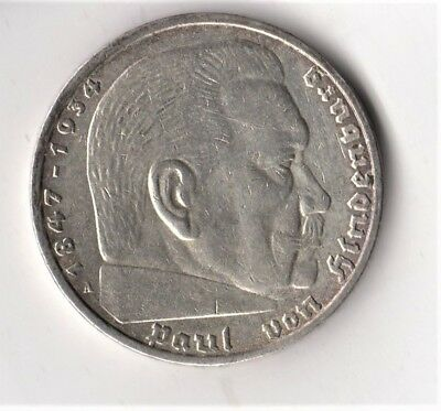 GERMAN Coin 5 MARK REICHSMARK 1936 A EAGLE Paul HINDENBURG Silver 3rd Reich WW2