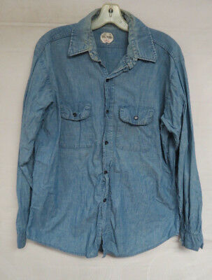Vintage Chambray Shirt Big Mike Work Mens Long Sleeve Union Made Size Large