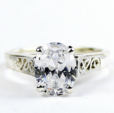 • SR366, 2.3 ct Cubic Zirconia (CZ), 925 Sterling Silver Ladies Ring -Handmade