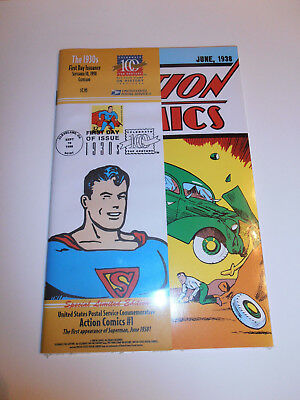 Superman Action Comics #1 US Postal Service Comm W/ First Day Issue Stamp New