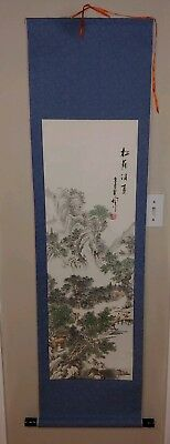 Asian Japanese Sansui Landscape SCROLL signed !