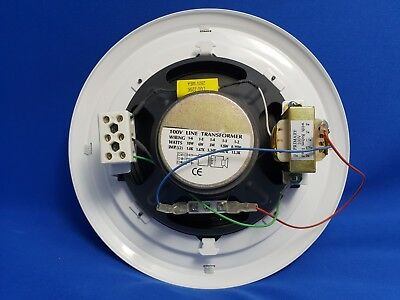"""White Ceiling Speaker, 100v 8"""" Coaxial, with mounting bracket"""