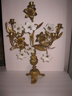Tall Antique French Victorian Brass Church Alter Candlestick With Glass Lilies