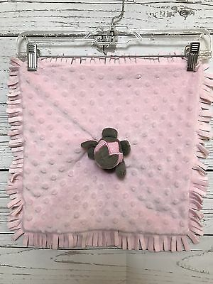 Elegant Baby Pink Turtle Baby Lovey Security Blanket Replacement Fringe