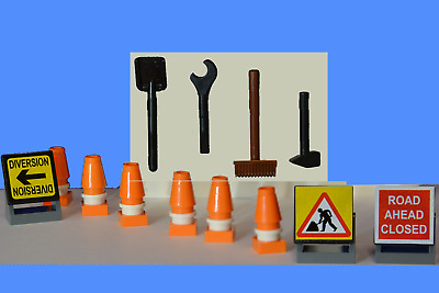 LEGO 10 Construction Road Traffic Cones Orange with Trans Red Tops  NEW